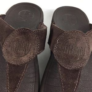 612da7ef3cf957 Fitflop Shoes - FitFlop Oasis Toning Brown Suede Style Flip Flops